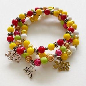 Handmade Elastic Beaded Stretch Cord Bracelet Set